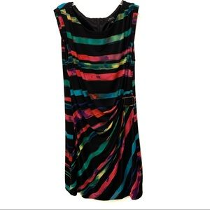 Tahari Multi Color Striped Dress